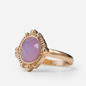 Gold & Lilac Stone Ring Size M
